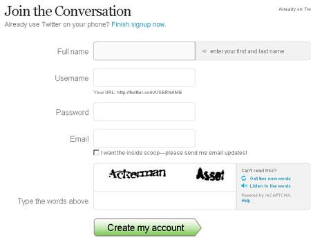 Регистрация на twitter.com
