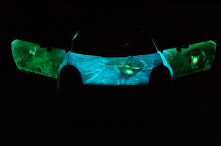 Аэрография автомобиля - вид в темноте