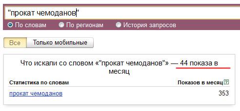 Прокат чемоданов в Яндексе