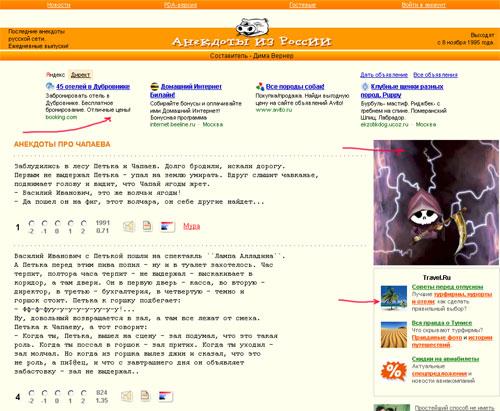 Реклама на сайте anekdot.ru