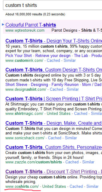 По запросу custom t shirts сайт ooshirts.com на 6 месте