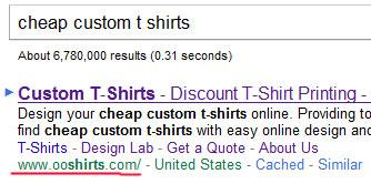 По запросу cheap custom t shirts сайт ooshirts.com на 1 месте