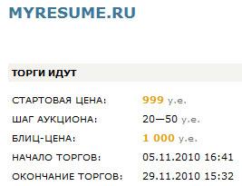 Киберсквоттеры продают подходящее доменное имя myresume.ru