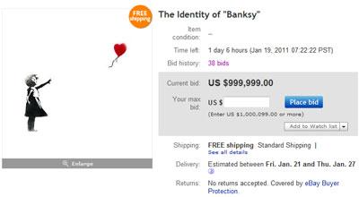 Настоящее имя художника Бэнкси продается за 999 999 долларов на ebay.com