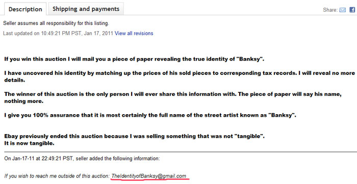 "Описание лота ""The Identity of Banksy"""