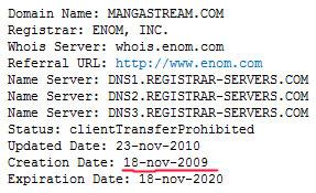 Дата регистрации сайта mangastream.com