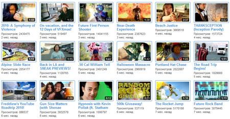 Видеоролики канала YouTube с миллионом подписчиков