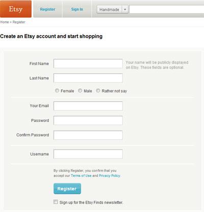 Регистрация на etsy.com
