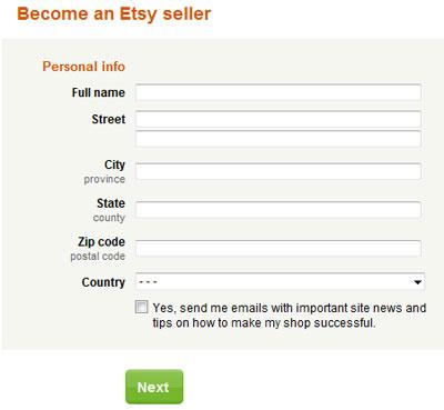 Регистрация на etsy.com в качестве продавца