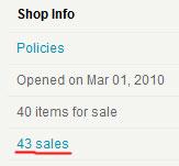 Информация о продажах на etsy.com