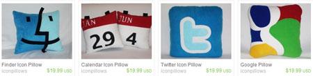 Подушки с иконками социальных сетей на etsy.com
