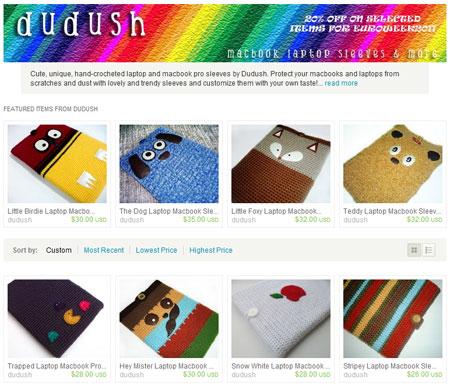 Вязаные сумки для ноутбуков на etsy.com
