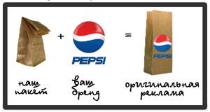 Реклама на упаковочных пакетах