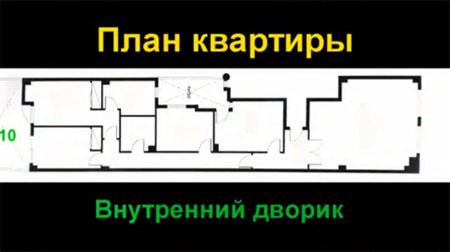 План испанской квартиры со внутренним двориком