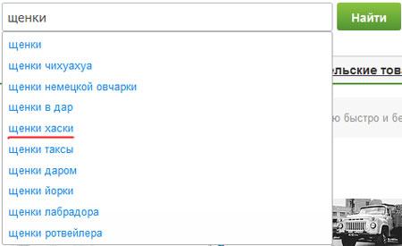 Поиск щенков на tiu.ru