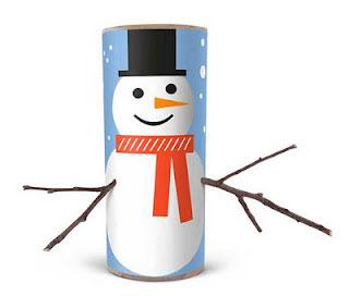 Снеговик из рулона для полотенец
