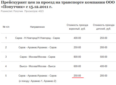 Цена билета из Сарова в Арзамас