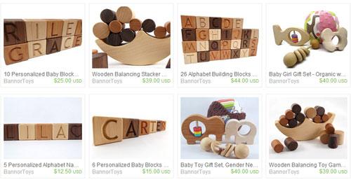 Деревянные игрушки от новичков etsy.com