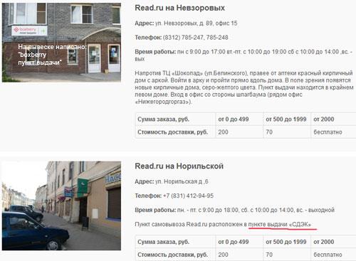 Пункты самовывоза Read.ru в Нижнем Новгороде