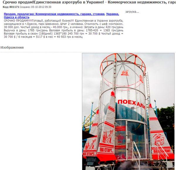 Доход бизнеса Аэротруба на Украине