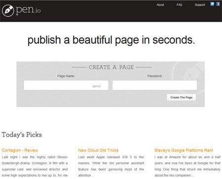 pen.io - новый сервис бесплатного создания страничек