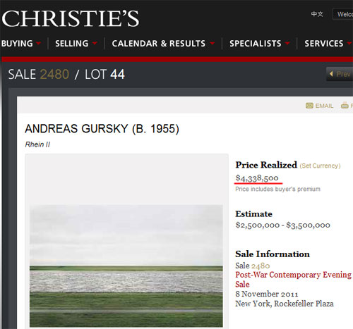 Страничка 4-миллионной фотографии на аукционе Кристи