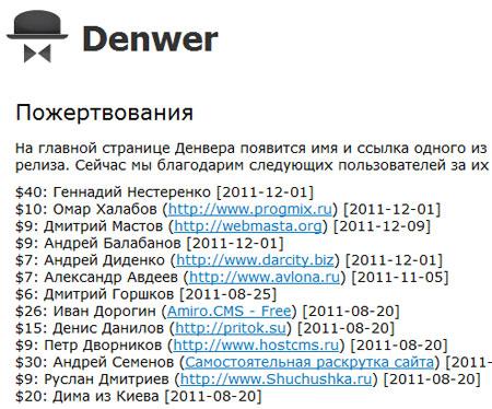 Список жертвователей на denwer.ru