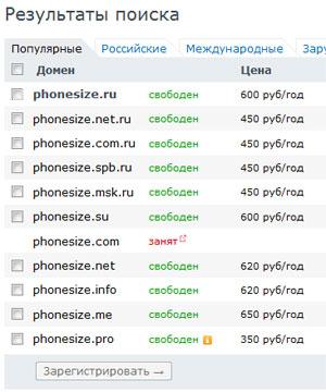 Свободные домены phonesize.ru и другие