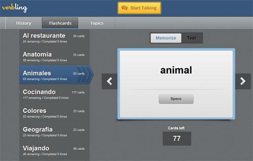 Карточки виртуального словаря на verbling.com