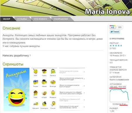Анекдоты от Марии Ионовой - не менее 100 тысяч закачек в месяц