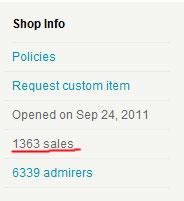Количество продаж магазина на etsy.com