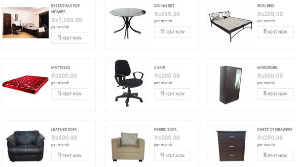 Ассортимент мебели, сдаваемой в аренду