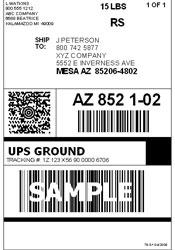 Почтовая наклейка UPS
