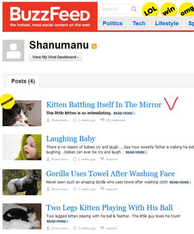 Юзер продвигает свое видео через buzzfeed.com