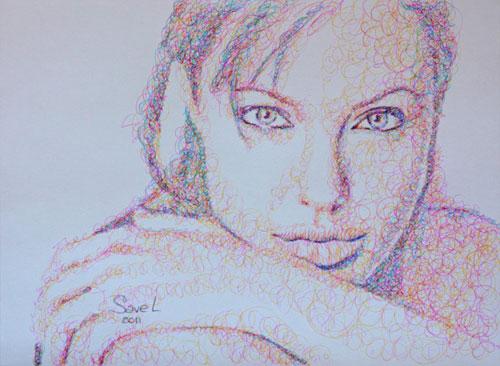 Анджелина Джоли, нарисованная каракулями