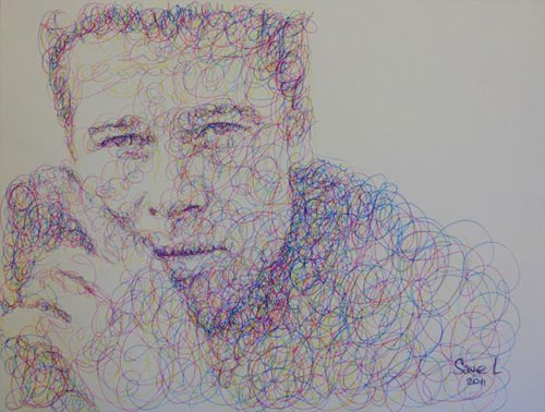 Бред Питт на рисунке каракулями