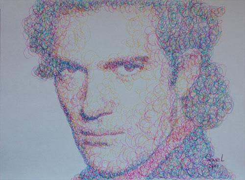 Антонио Бандерас на рисунке каракулями