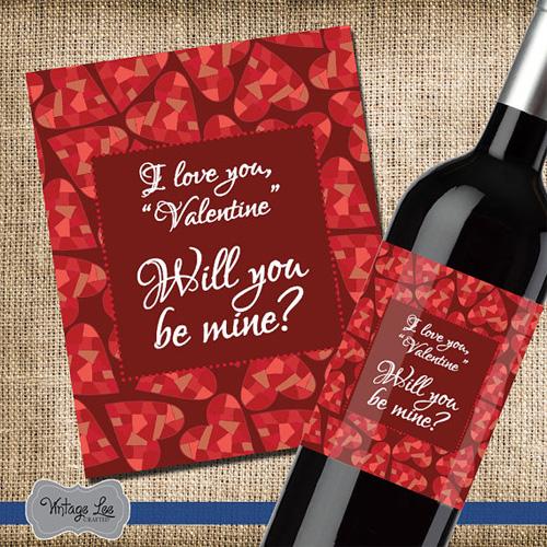 Этикетка, поздравляющая с Днем Святого Валентина