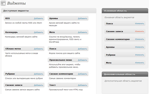 Виджеты WordPress