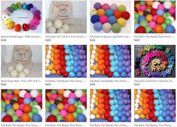 Цветные шарики из фетра