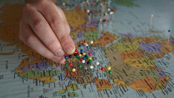 Карта путешественника с метками