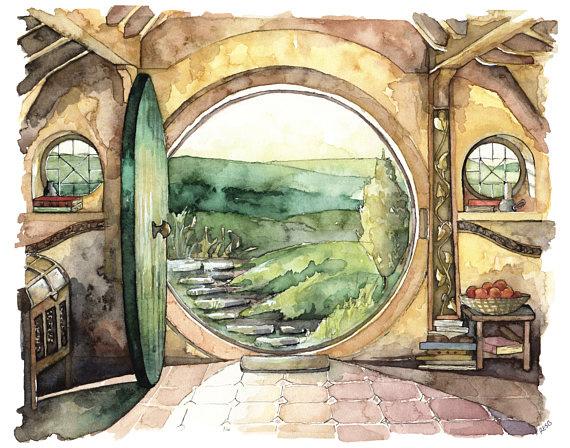 Домик Хоббита на акварельном рисунке