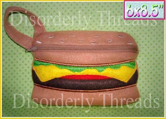 Сумочка с вышивкой в виде гамбургера