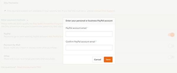 Указание счета PayPal