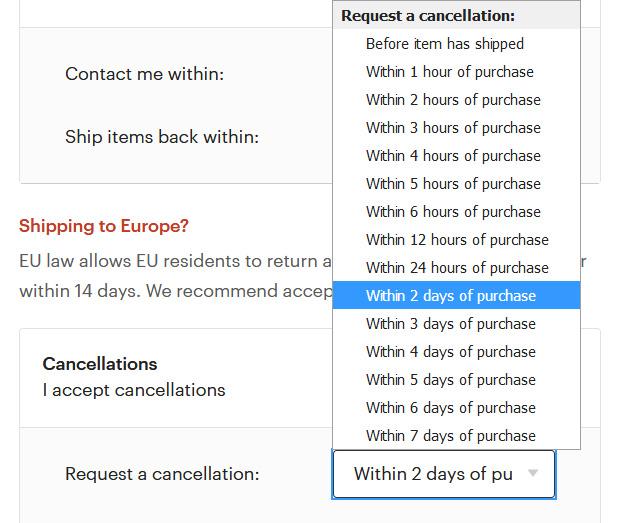 Как указать время отказа от покупки