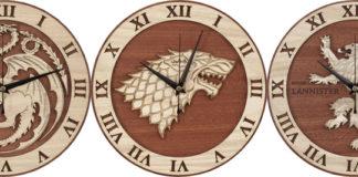 Деревянные часы для поклонников Игры Престолов
