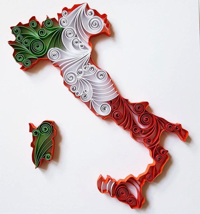 Карта Италии в технике квиллинг