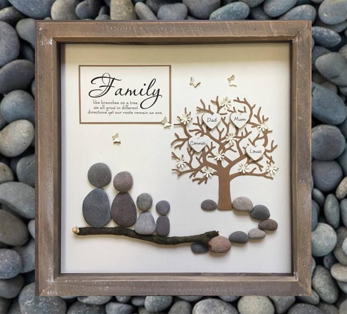 Подарок из гальки для родителей