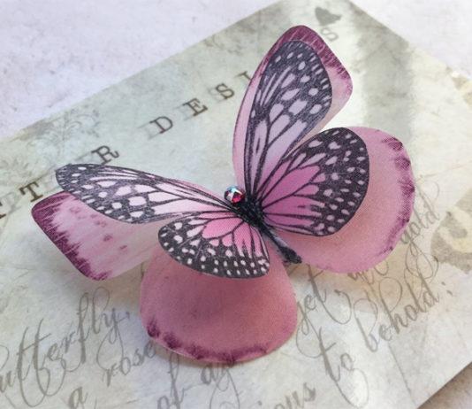 Бабочки-заколки из шелка