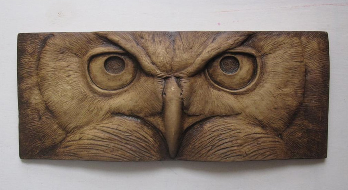 Объемная сова на плитке
